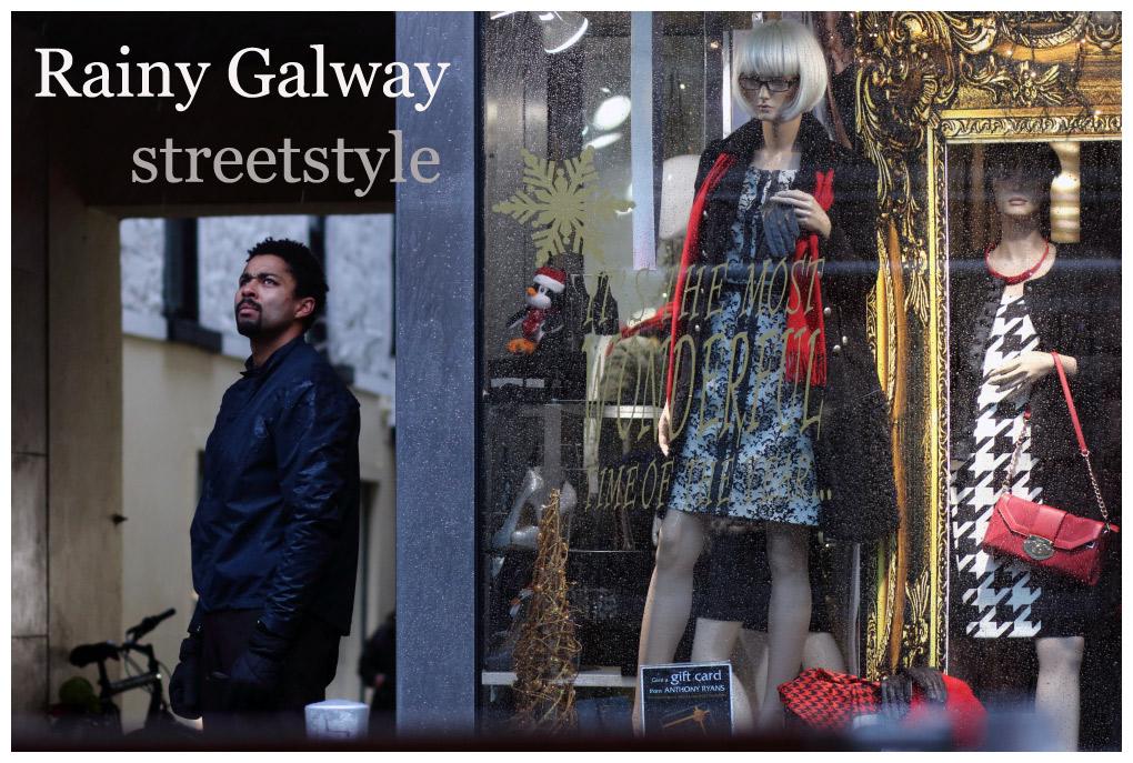 Shop street Galway in the rain