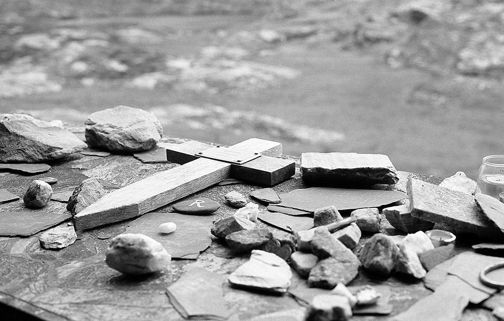Mamean relics, Connemara, Galway, Ireland (black and white)