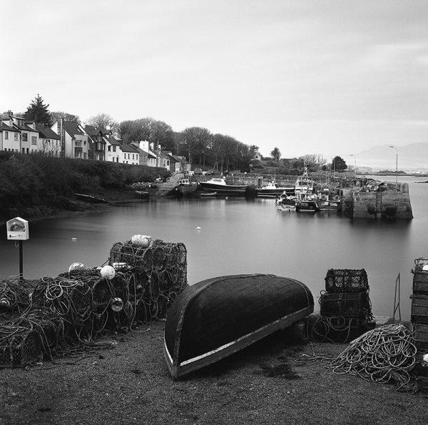 Roundstone village quay, connemara, black and white photography, Donal Kelly