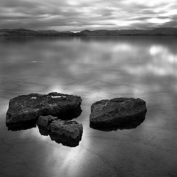 Inchiquinn Island stones, Lough Corrib, black and white photography Donal Kelly